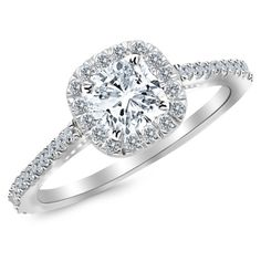 GIA Certified 0.95 Carat Cushion Modified Brilliant Cut/Shape 14K White Gold Gorgeous Classic Cushion Halo Style Diamond Engagement Ring with a 0.60 Carat, G Color, VS2 Clarity Center Stone