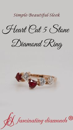 This carat 5 stone diamond ring allures you with the splendid heart shaped diamonds & ruby with immense sparkle studded in a marvelous prong setting and arranged in a stylish pattern offering you a verve of grace and finesse. Diamond Anniversary Rings, 20th Anniversary, Diamond Rings, Diamond Jewelry, Gold Rings, Womens Wedding Bands, Wedding Rings For Women, Heart Shaped Diamond, Alternative Engagement Rings