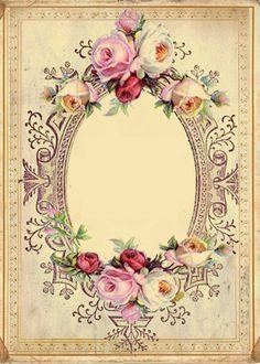 Vintage roses frame ~ matching vintage rose paper in previous pin -papirolas coloridas Decoupage Vintage, Papel Vintage, Vintage Diy, Vintage Labels, Vintage Ephemera, Vintage Cards, Vintage Paper, Graphics Vintage, Images Vintage