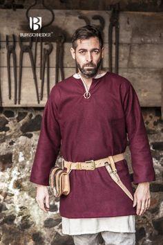 woolen viking tunic with undertunic http://burgschneider.de/hemd-tunika-mittelalter/wolltunika-lodin-rot.html