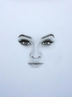 Drawing Barbara Palvin - minimalistic portrait - using Faber Castell graphite pencils