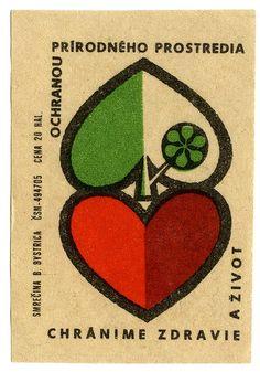 """Matchbox label (Czechoslovakia), """"Protéger la santé et la vie,   Protection de l'environnement naturel"""", produced by Smrecina B. Bystrica"""