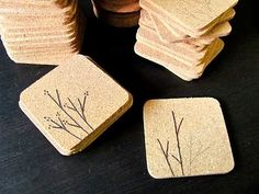 Wood burning on cork coasters. A nice & easy job that's quick to do. Have to try this out soon ;) Update: I have tried this out now & a word of warning to new comers, smooth your cork coasters off really well, don't try to burn on coarse big bit coasters & don't get your burner to hot or you'll have toast ;)