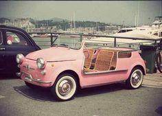 Imagen de car, pink, and vintage