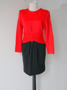 Vintage Red and Black Knit Color Block Dress by hipandvintage