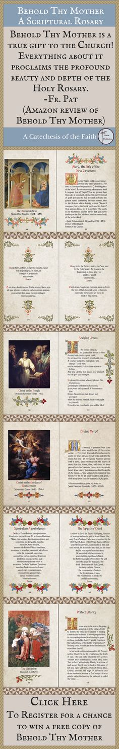 """Register for a chance to win a free copy of """"Behold Thy Mother"""" an English/Latin Scriptural Rosary book. www.beholdthymother.com"""