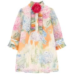 Silk voile Cotton voile lining Exquisite dress Light and flowing Flounced collar Long sleeves Button strap on the chest Buttons on the cuffs Logo buttons Fancy frills Removable flower - $ 838
