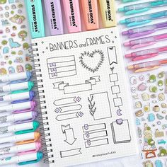 Comment your favorite doodle spread These are all created by nicolegracestudies she s a kind-hearted and talented person guys Tag Bullet Journal School, Bullet Journal Titles, Bullet Journal Banner, Journal Fonts, Bullet Journal Notebook, Bullet Journal Aesthetic, Bullet Journal Inspiration, Journal Layout, Lettering Tutorial
