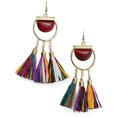 MANGO Tassel Earrings found on Polyvore featuring jewelry, earrings, multi color jewelry, multicolor earrings, tassel earrings, colorful earrings and multi colored jewelry