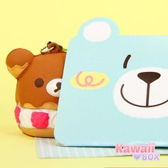 ❤ WHO'S THIS CUTIE? ❤  Rilakkuma charm, seen here hiding behind the cute card, was included in the October Kawaii Box! So cute! Get your Kawaii Box today! ► http://www.kawaiibox.com