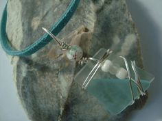 Wire Wrapped Recycled Glass Necklace Pastel by UniqueChiqueJewelry, $10.00