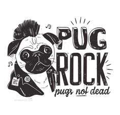 Pug Rock - illustrations for Typo, Pug bag. Pug Illustration, Pugs And Kisses, Baby Pugs, Pug Art, Background Drawing, Happy Puppy, Cartoon Dog, Pug Love, Drawing For Kids