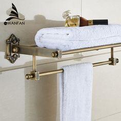 Luxury Antique Brass Bathroom Towel Rack Holder Bathroom Towel Shelf W/  Towel Bar Bathroom Accessories Wf 71208
