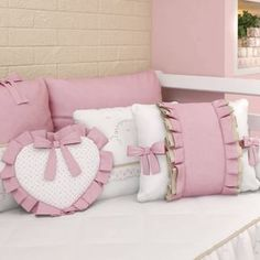 23 Clever DIY Christmas Decoration Ideas By Crafty Panda Tie Pillows, Sewing Pillows, Baby Pillows, Girl Room, Girls Bedroom, Designer Bed Sheets, Doll Beds, Pillow Cover Design, Baby Bedding Sets