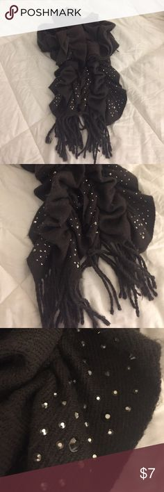 Dark gray scarf Braided fringe and stud design on bottom of scarf ends. Accessories Scarves & Wraps