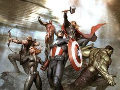AVENGERS New York Battle By Adi Granov #Comics #Illustration #Drawing