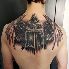 Chinese Full Back Tattoos for Men Warrior Tattoos, Badass Tattoos, Viking Tattoos, Cool Tattoos, Angel Warrior Tattoo, Awesome Tattoos, Chinese Tattoo Designs, Angel Tattoo Designs, Design Tattoo