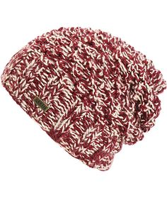 Warm things up with the casual styling of this slouch beanie made with a mixed burgundy and white marled knit construction and a small metal emblem at the hem.