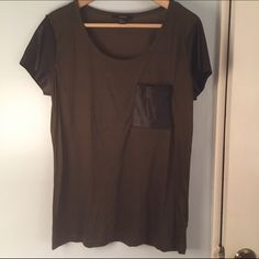 F21 Army Green T-Shirt with Pleather Sleeves Very soft size Large army green t-shirt with black leather (fake) sleeves and front pocket. Forever 21 Tops Tees - Short Sleeve