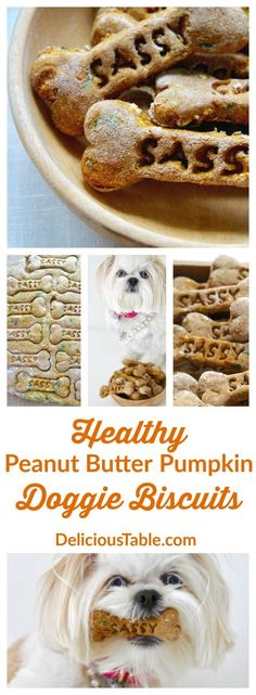 These healthy Peanut butter Pumpkin Doggie Biscuits look healthier than anything I've ever eaten.  So good for your pooch!