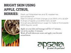 BRIGHT SKIN USING APPLE, CITRUS, AND BERRIES  #facemask #diy #diybeauty #apple #citrus #berries #recipes #bright #skincare