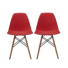 """2xhome - Set of Two (2) - New Seat Height 18.5"""" - Eames Style Side Chair Natural Wood Legs Eiffel Dining Chair - Multiple Colors 