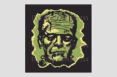 Frankenstein Cross Stitch Silhouette, Frankenstein, Monsters Cross Stitch, Halloween Cross Stitch, Needlepoint from NewYorkNeedleworks on Etsy, $9.01 CAD