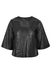 **Laser-Cut Leather-Look Top by Jovonna