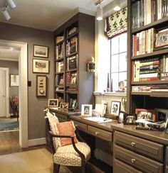 This will be our home office wall in the family room (minus the window and borning colors)... someday... sigh...