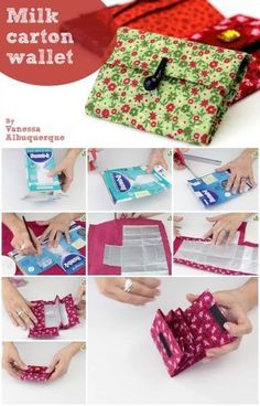How to make a milk carton - Diy Wallet Sewing Patterns Free, Free Sewing, Recycled Crafts, Diy And Crafts, Milk Carton Crafts, Pochette Diy, Sew Wallet, Fabric Wallet, Tetra Pak
