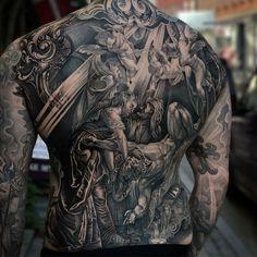 Full Back Religious Tattoo Best Tattoo Ideas Gallery religious tattoos - Tattoos And Body Art Boys With Tattoos, Back Tattoos For Guys, Full Back Tattoos, Great Tattoos, Unique Tattoos, Beautiful Tattoos, Backpiece Tattoo, Medusa Tattoo, Chest Tattoo