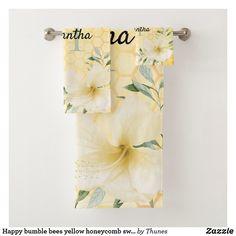 Shop Happy bumble bees yellow honeycomb sweet monogram bath towel set created by Thunes. Bath Towel Sets, Bath Towels, Monogram Initials, Monogram Letters, Yellow Towels, Honeycomb Pattern, Personalised Blankets, Bee Happy, Bumble Bees