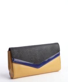 BCBGMAXAZRIA khaki indigo black 'Adele' double leather clutch | BLUEFLY up to 70% off designer brands