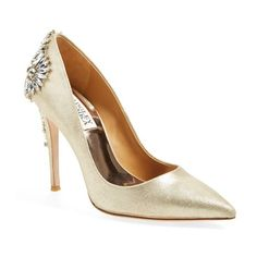 "Badgley Mischka 'Poetry' Pump, 4"" heel (£115) ❤ liked on Polyvore featuring shoes, pumps, heels, platino leather, high heel pumps, pointy-toe pumps, high heel shoes, metallic heel pumps and metallic shoes"