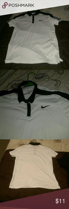 Dri-fit Nike collar tee shirt. Never worn. Got for fathers day but was too big. Sz is large I wear small maybe medium some shirts. Basically brand new. dri-fit nike Shirts Tees - Short Sleeve