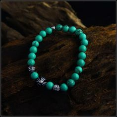 8mm Green Turquoise Cross Chrome Hearts Beads Bracelet, Chrome Hearts, London