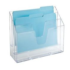 Great action file holder for keeping your desk organized with important papers within reach.   Clear 3-Section Vertical File from The Container Store