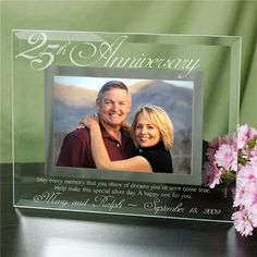 Personalized 25th Wedding Anniversary Picture Frame | 25th Anniversary Engraved Picture Frame