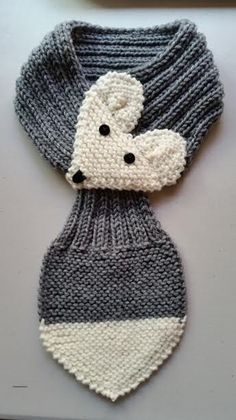 Adjustable Fox Scarf For KIDS ,GRAY, Hand Knit Scarf / neck warmer