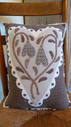 beautiful wool appliqued heart & flowers