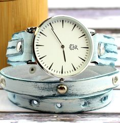 Ocean Blue Leather Wrap Watch with Silver Studs
