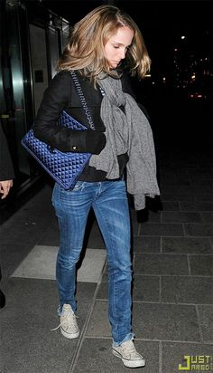 18b2d2b8e44 Natalie Portman on white Chucks, I love NAtalie Portman s Jeans and some  wool jackets with her blue chanel quilted purse (which i think it s out of  the ...