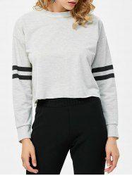 Stand Up Collar Striped Inert Short Sweatshirt