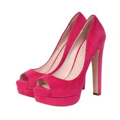 These elegant, yet daring Miu Miu platform pumps are definite head turners. They are crafted of an elegant hot pink suede and the sexy peep toe adds an interesting detail. Pink Pumps, Platform Pumps, Shoe Collection, Miu Miu, Pretty In Pink, Designer Shoes, Open Toe, Hot Pink, High Heels