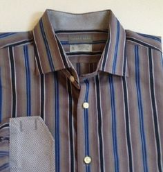 Thomas Dean dress shirt XL blue gray black striped contrast flip cuffs  #ThomasDean #ButtonFront