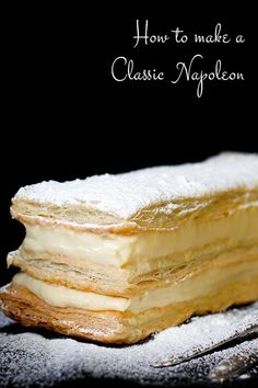 Making a classic, elegant French Napoleon (AKA, Mille Feuille) is much easier th. - Making a classic, elegant French Napoleon (AKA, Mille Feuille) is much easier than it appears. Puff Pastry Desserts, Puff Pastry Recipes, Köstliche Desserts, Delicious Desserts, Phyllo Dough Recipes, Choux Pastry, Easter Desserts, Pastry Cake, Plated Desserts