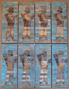 Ranks of the Louvre Museum melophores (immortal persian guard) from the famous glazed bricks friezes found in the apadana