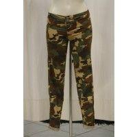 Jeggings pantaloni donna verde mimetico scuro 67% cotone 29% poliestere 4% elastano