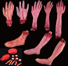 Simulation Hand Mischief Props Horror Zombies Broken Hand Funny Scary Bloody Fake Foot Novelty Products Blood Heart Brain Finger