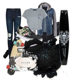 """""""No regrets skating outfit"""" by youtubeobsessedchick on Polyvore featuring J Brand, New Look, Vans, Gucci and Lime Crime"""